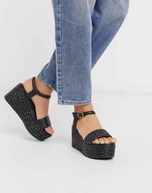Черные сандалии на плетеной платформе -Черный Dune
