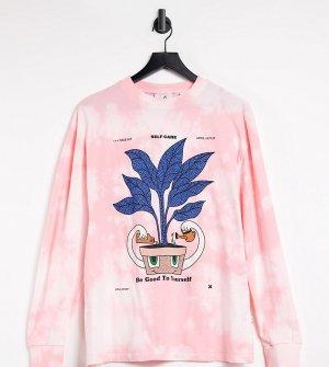 Розовый oversized-лонгслив с принтом тай-дай COLLUSION Unisex-Розовый цвет