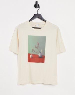 Светлая футболка из органического хлопка с принтом вазы Tovi-Голубой Monki