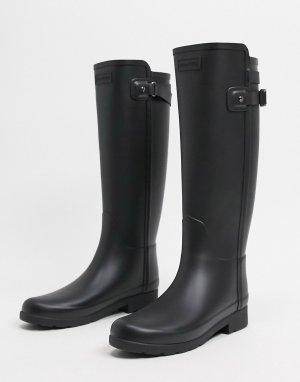 Черные высокие резиновые сапоги с ремешками сзади Original Refined-Черный Hunter