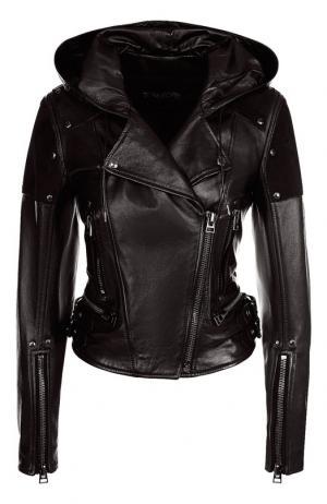 Кожаная куртка с капюшоном Tom Ford. Цвет: чёрный