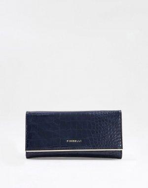 Темно-синий кошелек с отделкой под кожу крокодила Carmen Fiorelli