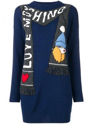 Платье с шарфом логотипом вязки интарсия Love Moschino. Цвет: синий