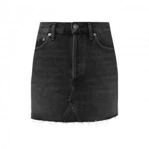 Джинсовая юбка Agolde. Цвет: серый