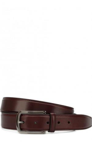 Кожаный ремень с металлической пряжкой Brioni. Цвет: бордовый
