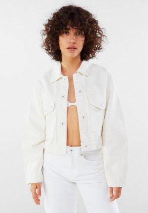 Куртка джинсовая Bershka. Цвет: белый