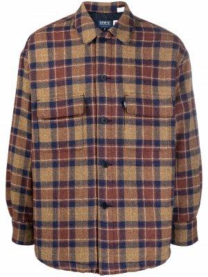Levis: Made & Crafted check-pattern shirt jacket Levi's:. Цвет: коричневый