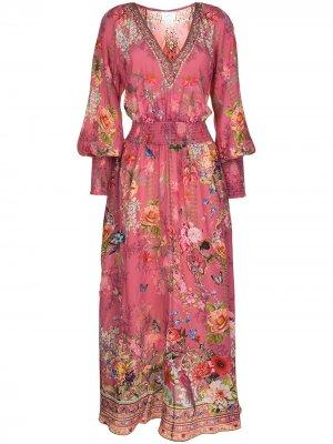 Платье макси с цветочным принтом Camilla. Цвет: розовый