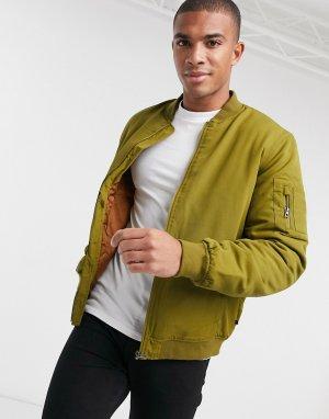 Бомбер цвета хаки с карманом MA1 от -Зеленый цвет Only & Sons