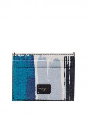 Картхолдер с принтом граффити Dolce & Gabbana. Цвет: синий