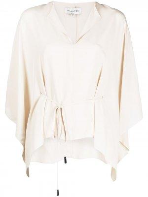 Блузка с V-образным вырезом и складками Halston Heritage. Цвет: белый