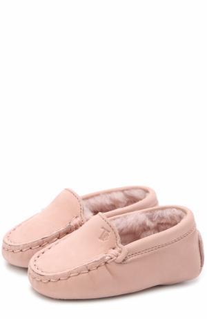 Замшевые пинетки Tod's. Цвет: розовый
