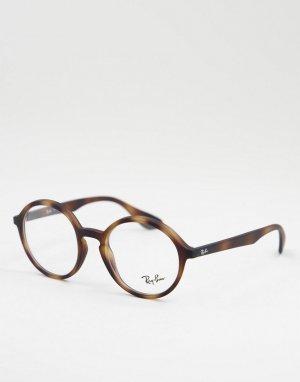 Круглые очки с прозрачными стеклами 0RX7075-Коричневый цвет Ray-Ban