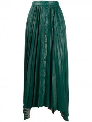 Плиссированная юбка макси из искусственной кожи Isabel Marant. Цвет: зеленый