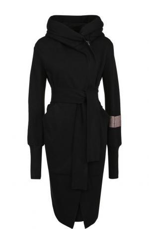 Хлопковое пальто с поясом и капюшоном Roque. Цвет: черный
