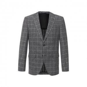 Пиджак из шерсти и льна BOSS. Цвет: серый