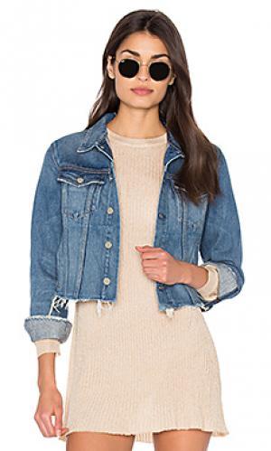 Укороченная джинсовая куртка cara GRLFRND. Цвет: denim dark