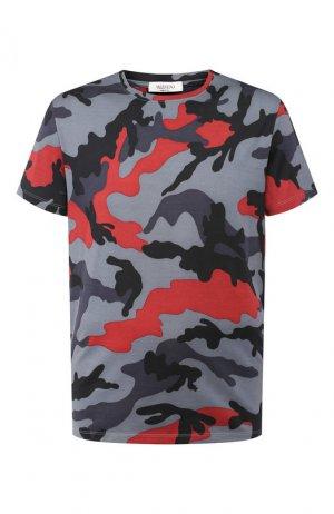 Хлопковая футболка Valentino. Цвет: серый