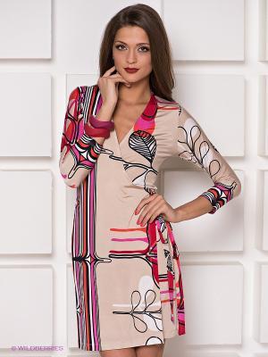 Платье Analili. Цвет: бежевый, фуксия