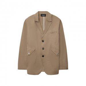 Хлопковый пиджак Dsquared2. Цвет: бежевый
