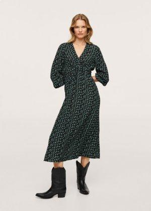 Миди-платье с принтом - Rose Mango. Цвет: зеленый