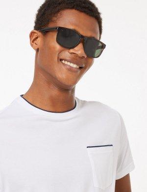 Солнцезащитные очки в оправе D формы M&S Collection. Цвет: коричневый микс