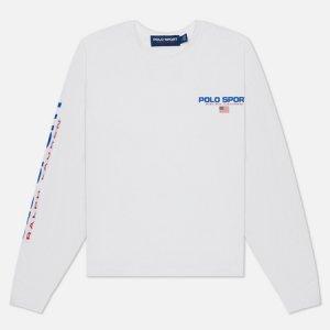 Женский лонгслив Polo Sport Cropped Crew Neck Ralph Lauren. Цвет: белый