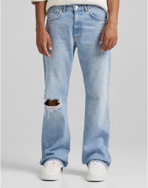 Расклешенные джинсы голубого цвета -Голубой Bershka