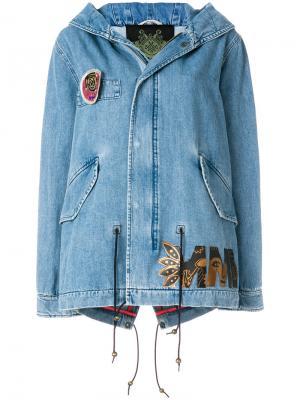 Джинсовая куртка с капюшоном Mr & Mrs Italy. Цвет: синий