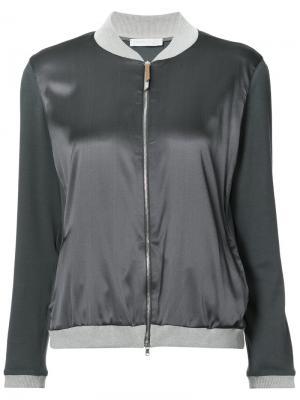 Куртка-бомбер с контрастной окантовкой Fabiana Filippi. Цвет: серый