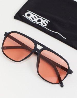 Солнцезащитные очки-авиаторы в стиле 70-х черной оправе с красными линзами -Черный цвет ASOS DESIGN