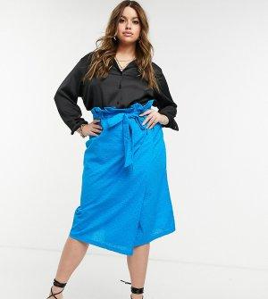 Голубая юбка с оборками на талии и узором бродери Plus-Голубой Elvi