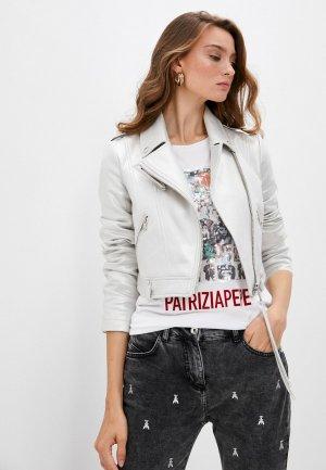 Куртка кожаная Patrizia Pepe. Цвет: белый
