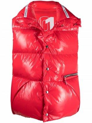Дутый жилет оверсайз с логотипом Khrisjoy. Цвет: красный
