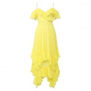 Платье-макси Alice + Olivia. Цвет: жёлтый