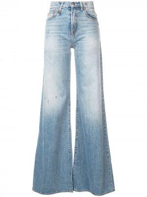 Широкие джинсы Raegan R13. Цвет: синий