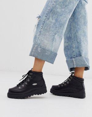 Кожаные походные ботинки с 6 парами люверсов Shindig-Черный Skechers