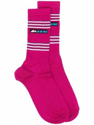 Носки вязки интарсия с логотипом Marni. Цвет: розовый