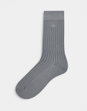 Серые носки в рубчик -Серый Lacoste