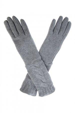 Трикотажные перчатки серого цвета Sermoneta Gloves. Цвет: серый