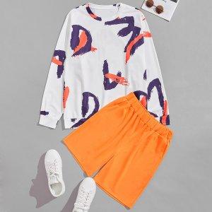 Мужской с принтом Свитшот & Спортивные шорты SHEIN. Цвет: многоцветный