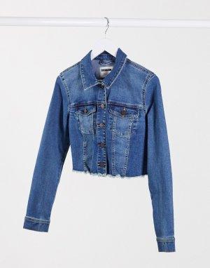 Короткая темно-синяя джинсовая куртка с необработанным краем -Синий Noisy May