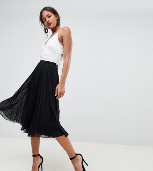 Плиссированная юбка миди ASOS DESIGN Tall-Черный Tall