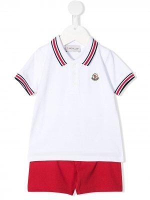 Комплект из футболки и шортов с логотипом Moncler Enfant. Цвет: белый