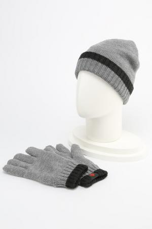 Шапка и перчатки Strellson. Цвет: серый
