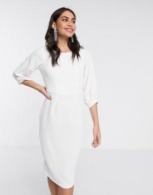 Платье-футляр цвета слоновой кости со складками на рукавах -Белый Closet London