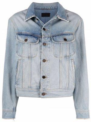 Джинсовая куртка с необработанным краем Saint Laurent. Цвет: синий