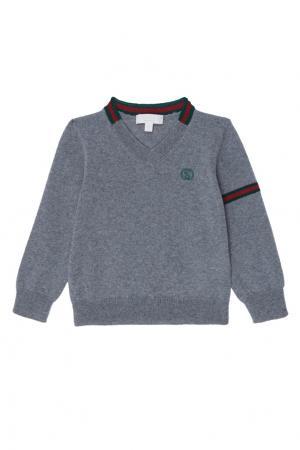 Серый пуловер с контрастной отделкой Gucci Kids. Цвет: multicolor