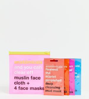 Тканевая салфетка и 4 маски для лица эксклюзивно ASOS-Бесцветный Anatomicals