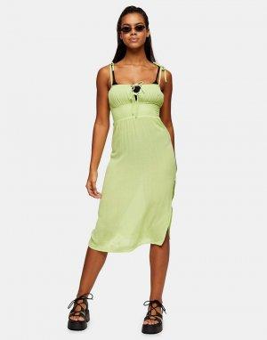 Пляжное платье миди лаймового цвета со сборками спереди -Зеленый цвет Topshop